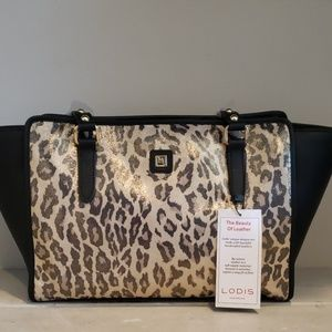 Lodis angie tote..leather leopard print
